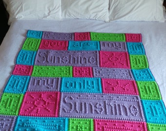 Free Crochet Pattern For You Are My Sunshine Blanket : Crochet Sugar Skull Afghan by JustALilLoopy on Etsy