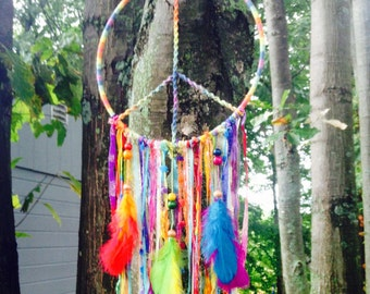 Rainbow peace sign hippie Native American dreamcatcher