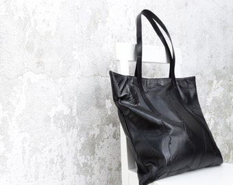 Large Leather Tote Bag /Black Leather Tote Bag/Ready to ship