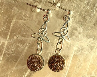 Sterling Silver Celtic Trinity Knot Post Earrings with Gold Titanium Druzies