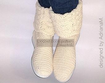 Crochet boots pattern, women crochet boots pattern, crochet boots with soles,women crochet boots for street,summer crochet boots, lace boots