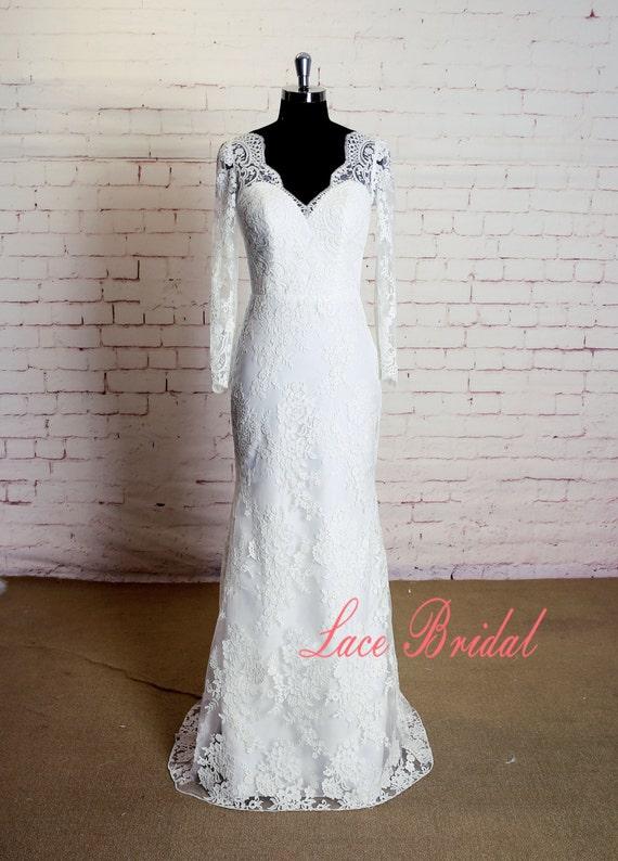 Long sleeves wedding dress with v back sheath style bridal for Sheath style wedding dress