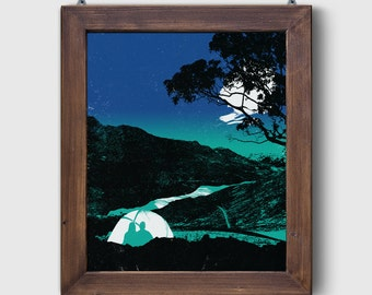 "Camping Screen Print ""The Great Outdoors"" Dusk Poster Art Adventure Tent Screen Print by Or8 Design"