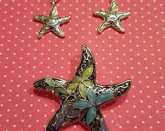 Starfish Pendant Set, Starfish Slide Set, Starfish Jewelry Set, Epoxy Starfish Set, Beach Jewelry