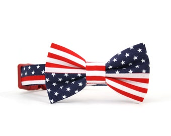 American Flag Dog Bow Tie Collar Patriotic July 4th Red White Blue Stars and Stripes Dog Bowtie Collar