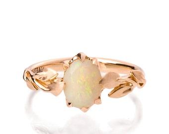 Opal engagement ring, Opal ring, Opal 18K Rose Gold Ring, Opal Jewelry, Unique Engagement ring, Australian Opal Ring, Leaves Opal Ring, 14