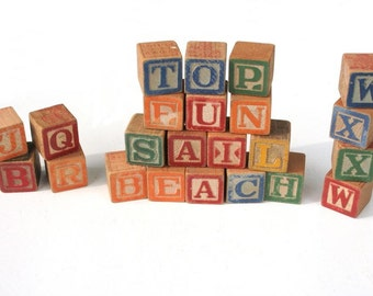 Vintage alphabet blocks, 27 blocks, vintage toy letter blocks