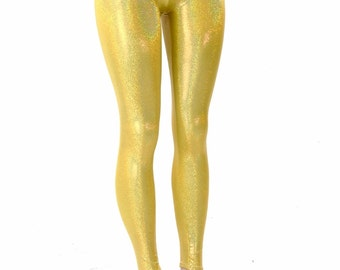 Gold Sparkly Jewel Holographic Mid Rise Leggings  152119