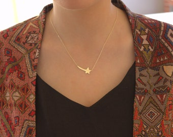 Star Necklace - Comet -Shooting Star -Gold  Star, Atlas project
