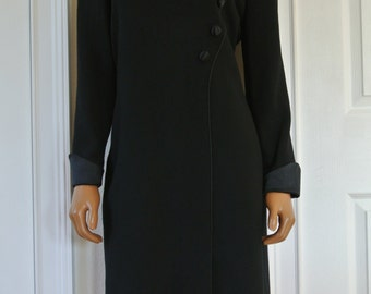 1960s David Hayes Minimalist Black Wool Sheath Dress Trimmed in Satin