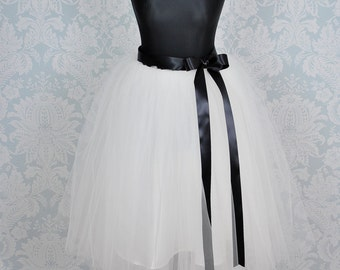 Adult Tutu Skirt,Long Tulle Skirt,Black Tutu Skirt,Tutu Skirt For Women,Classic Tutu,Bridal Tulle Skirt, Sewn Tutu Skirt,Wedding Tutu Skirt