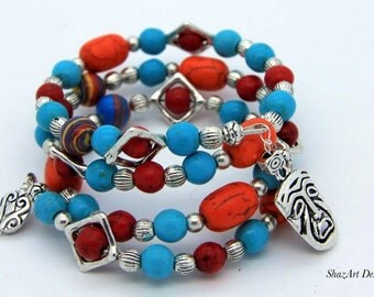Bright Multicoloured Turquoise – Memory Wire Wrap Bracelet