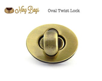 Set of 2 -  Purse Turn Locks / Twist Locks / Oval Twist Lock / Bag Closures / Bag Hardware (Antique Brass)