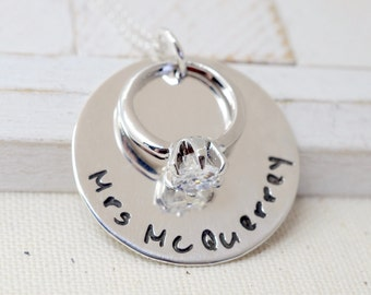 Personalized Sterling Silver Engagement Ring Necklace - Anniversary Wedding Keepsake - Engagement Necklace - Valentine's Gift for Her