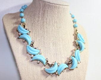 Vintage Kramer Necklace, Signed Kramer Light Blue Necklace, Moon Shape Setting, Vintage Rhinestones, Kramer Collectible, Quality Jewelry
