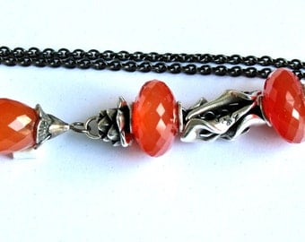 925 Silver Fantasy-Necklace with a facetted Carnelian Pendant