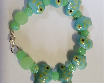 Green and Turquoise Fish Bracelet