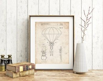 Parachute 1982 Patent Poster, Skydiving, Army Wall Art, Combat, Soldier Gift, PP0187