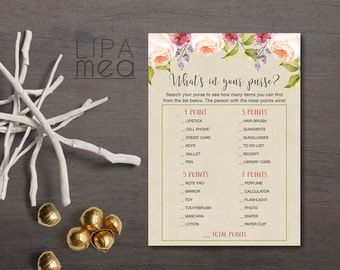 Bridal Shower Whats in your Purse Game Printable, Bridal Shower Purse Game, Floral Bridal Shower Game, Printable Purse Game, Digital File