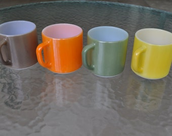 Vintage Set of 4 Federal Milk Glass Diner Mugs Coffee Cups, Orange, yellow, avocado green, brown. Mid Century, 1960's-1970's Retro, Mod.