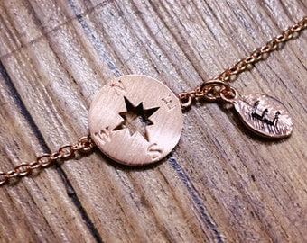 rose gold compass Bracelet, Personalized bracelet, initial bracelet,best friend bracelet, Bridesmaid gifts, friendship bracelet