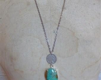 Turquoise Buffalo Nickel Necklace