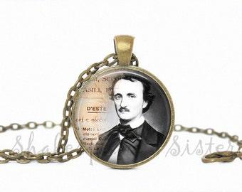 Edgar Allan Poe Necklace - Art Pendant - Edgar Allan Poe Jewelry - Poe Necklace