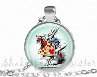 White Rabbit - Alice in Wonderland Jewelry - White Rabbit Necklace - Art Pendant - Alice Jewelry