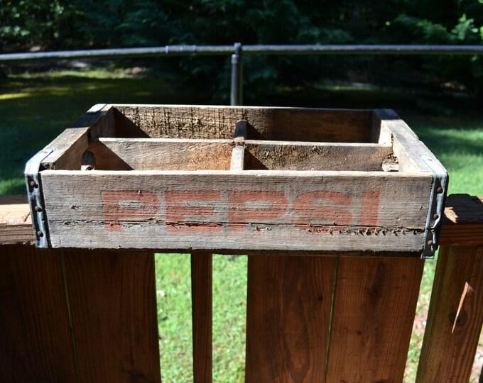 Vintage Pepsi Wooden Crate Wood Storage Box Shelf Display Advertising Panchosporch