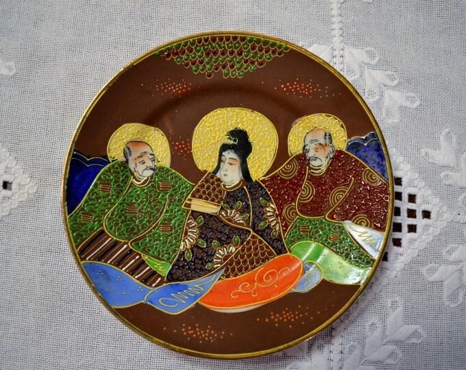 Vintage Satsuma Plate Chocolate Brown Raised Moriage Enamel Hand Painted Immortals Japanese Porcelain PanchosPorch