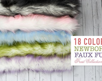 BUY 3 GET 1 Free Newborn Faux Fur Stuffer, Newborn Faux Fur Frost Two Tone Posing Fur, Posing Prop, Newborn Photo Prop, Ready to Ship RTS