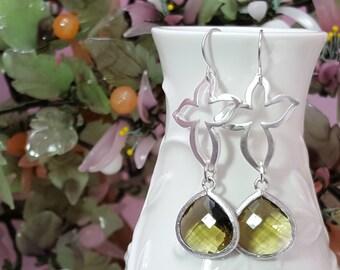 Olive Green Earrings, Silver Leaf Earrings, Abstract Cross Earrings, Contemporary, Sleek, Modern Earring, Nature Jewelry, Green Bridal E2069