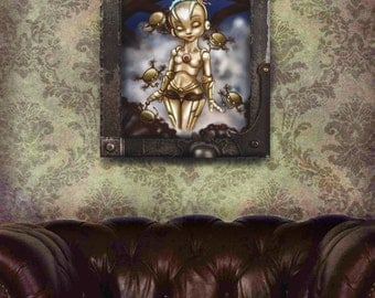 Steampunk Robot Art Print steampunk decorations Metropolis steampunk wall art steampunk bedding scifi art print retrofuturism big eyes