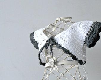 baby girl summer bolero, crochet baby bolero, white jacket for baby, summer bolero, crochet baby shrug, cotton bolero with contrasting edge