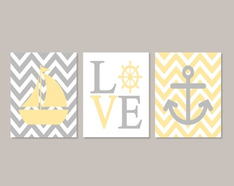 Yellow Gray Nursery WALL ART  Nautical Nursery Decor Nautical Baby Decor Gender Neutral Nursery Sailboat Anchor Set of 3 Prints Or Canvas