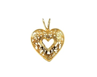 14k Filigree Heart Pendant Gold