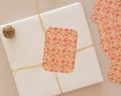 Set of 5 little cards / gift tags printed with a floral pattern, for gifts and little words