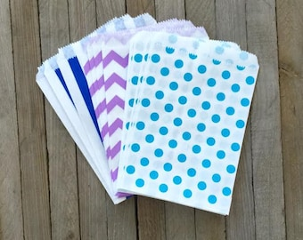 48 Lilac, Light Blue and Royal Blue Favor Sacks- Chevron, Polka Dot and Striped Treat Bags- Under the Sea Theme Party Supply- Birthday