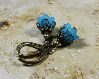 Small flowers earrings turquoise bronze vintage style