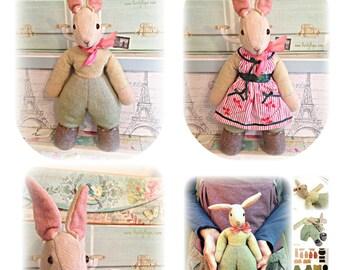 1950s rabbit / toy pattern / vintage / softie / plushie / sewing pattern / PDF - Benjamin Bunny