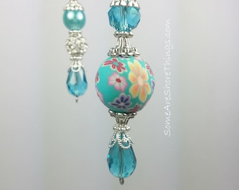 Ceiling Fan and Light Pull Chains.   Handmade.  Sold as a Single or Set.  Aqua Home Decor Ceiling Fan Accessory.  Other Colors Available.