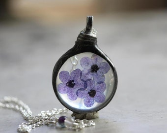 Forget Me Not Necklace Botanical Jewelry Bridesmaid Gift Soldered Glass Pendant Purple Flower Terrarium Flower Spring Natural Jewelry Rustic