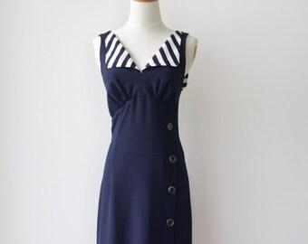 90s navy sailor dress. Blue stripe 90s dress. Summer button up dress. Blue dress. Nautical dress. Blue bodycon dress. Size s
