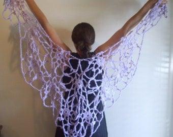 Large Lavender Lacey Shawl, Purple Wrap