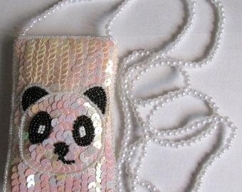 Panda sequin girls purse.  Cross Body pearl handle bag. Messenger hand Shoulder party Bag. Novelty.