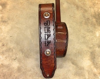 Custom GUITAR STRAP, Leather Guitar Strap, thin scallop border with Star conchos shown, Made in the USA, Engraved Free!