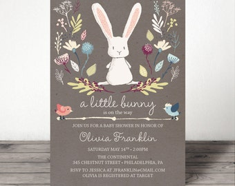 Bunny Baby Shower Invite - Baby Shower Invitation - Rabbit Baby Shower Invite - Gender Neutral Baby Shower - Gender Reveal Baby Shower