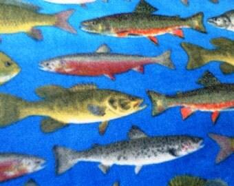 SALE Trout Bass Salmon Fish Fleece Throw