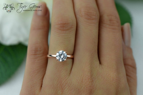 1 5 ct Engagement Ring Solitaire Ring Man Made by TigerGemstones