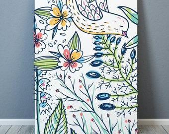 "Design ""Bird and Flowers"" Poster A3 - 50x70 cm - 70x100 cm - digital print"
